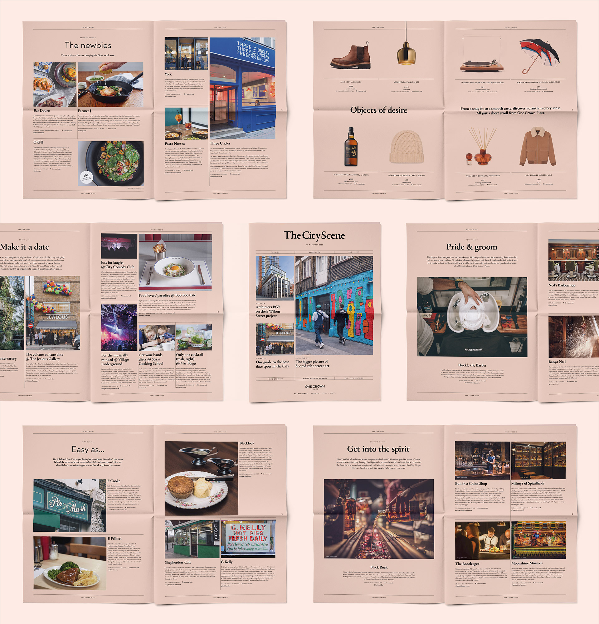 One Crown Place newspaper spreads